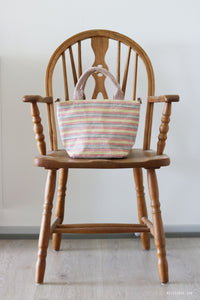 Handwoven cotton bag, tropical stripes