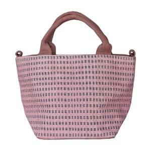 Handwoven cotton bag, pink/purple
