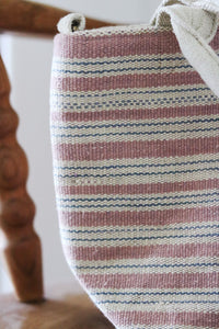 Handwoven cotton bag, pink/white/blue stripes