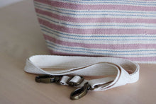 Load image into Gallery viewer, Handwoven cotton bag, pink/white/blue stripes