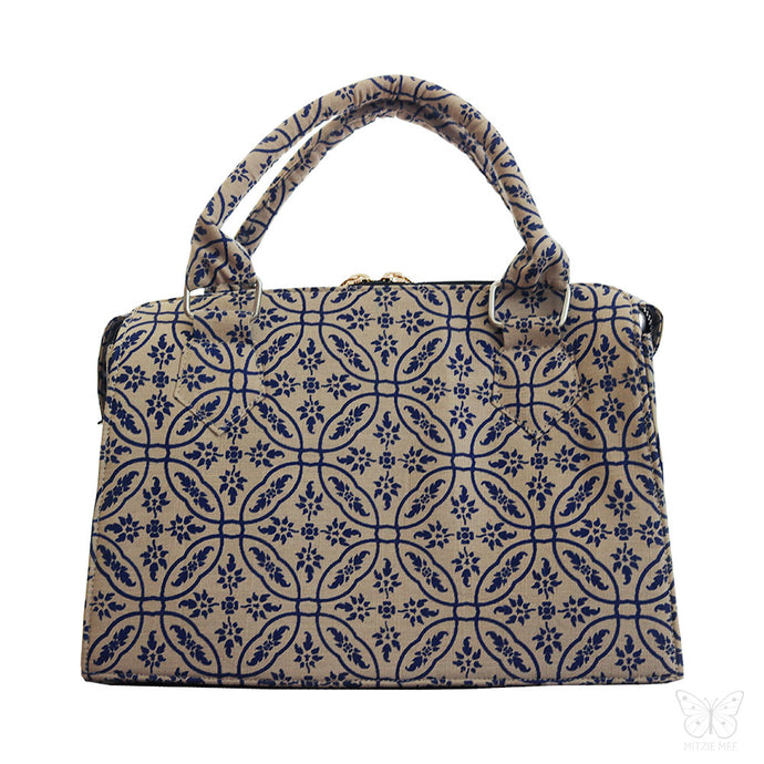 Linen handbag with block print, fair fashion