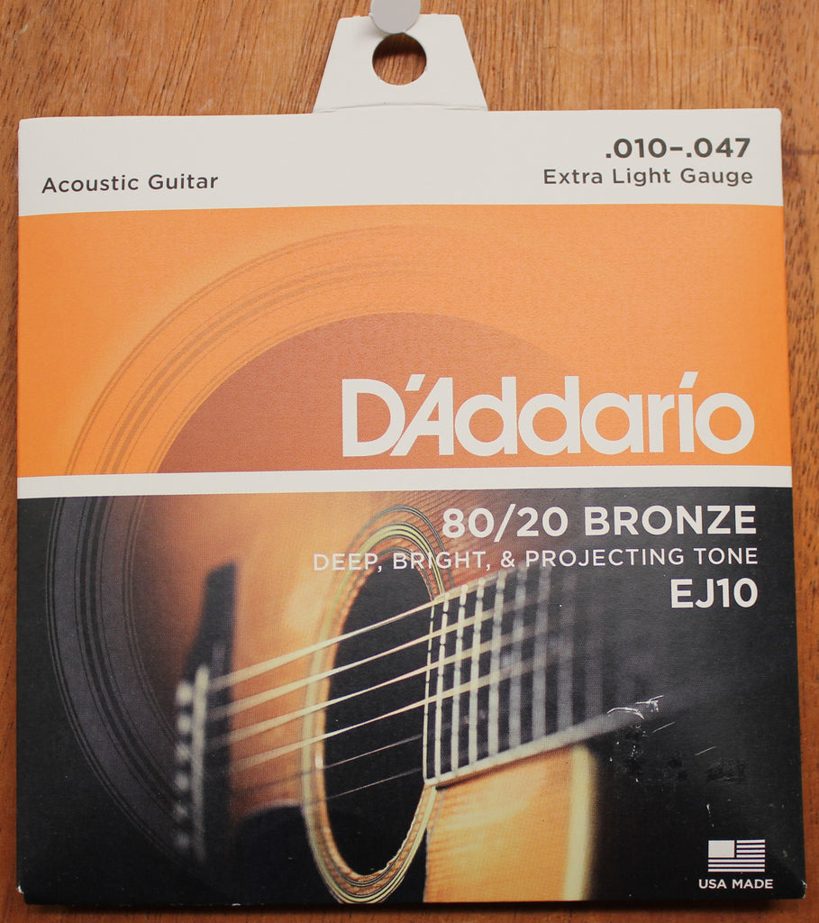 D'Addario EJ10 80/20 Bronze Extra Light 10-47 Acoustic Guitar Strings - Dr. Guitar Music, Watertown, NY 315-782-3604