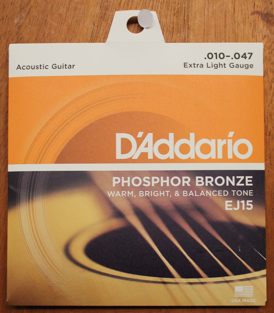 D'Addario EJ15 Phosphor Bronze Extra Light 10-47 Acoustic Guitar Strings - Dr. Guitar Music, Watertown, NY 315-782-3604