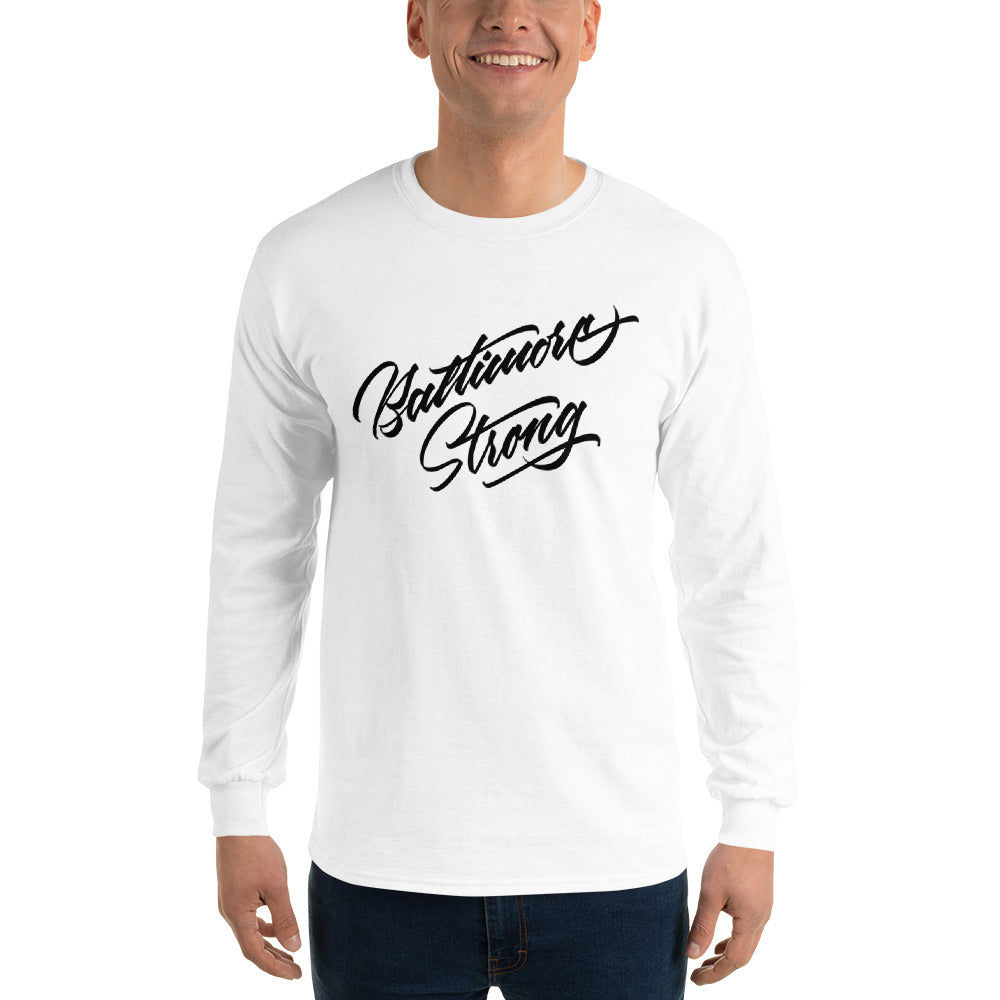Baltimore Strong-Men's Long Sleeve Shirt-White