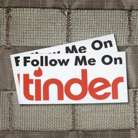 """Follow Me On Tinder"" Sticker"