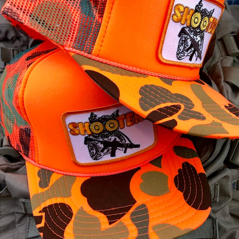 """Shooters"" Orange Camo Hunting Trucker"
