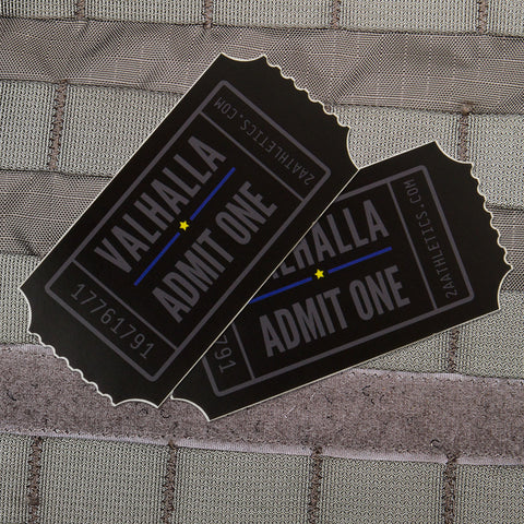 Average Size Valhalla Admit One Stickers