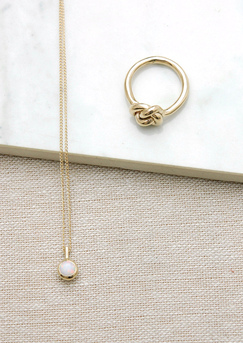 Opal Dot Necklace// 14k Gold
