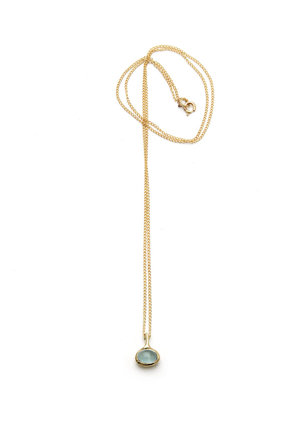 Aquamarine Necklace// 14k Gold