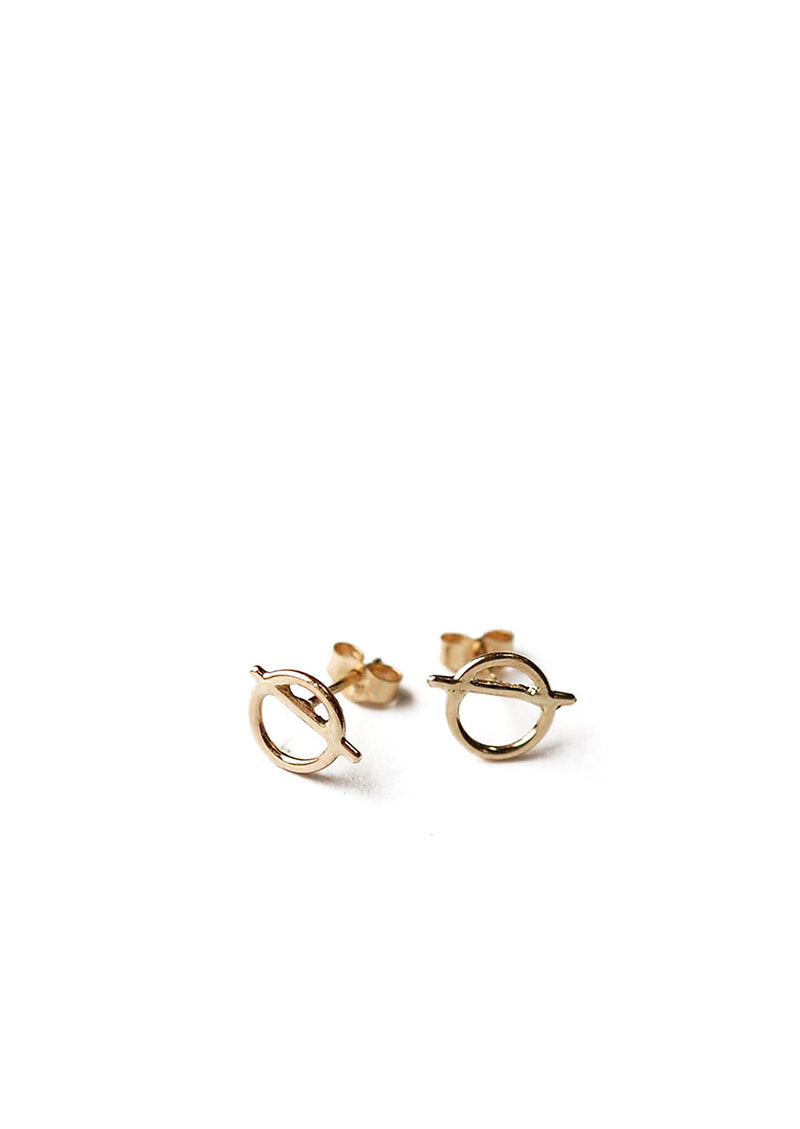 Circle/Slash Studs // 14k Gold