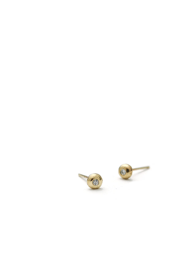 Diamond Dot Studs // 14k Gold