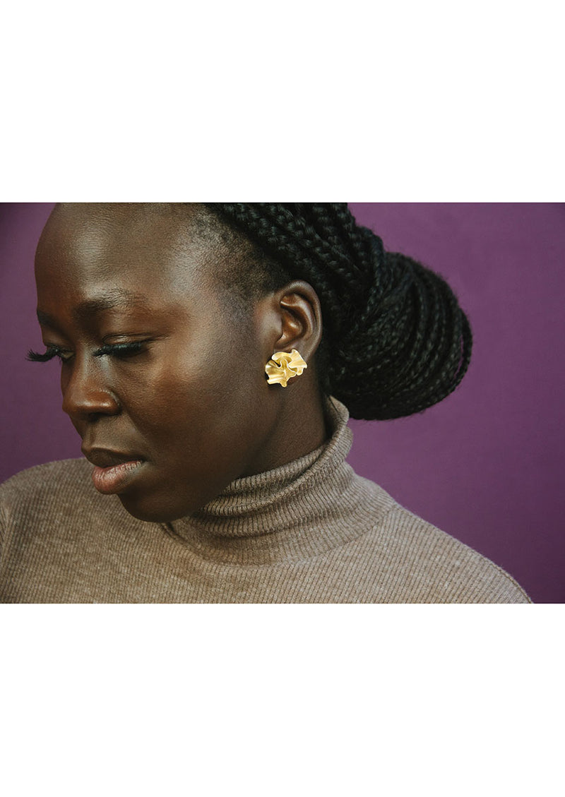 Floreo Earrings // Brass