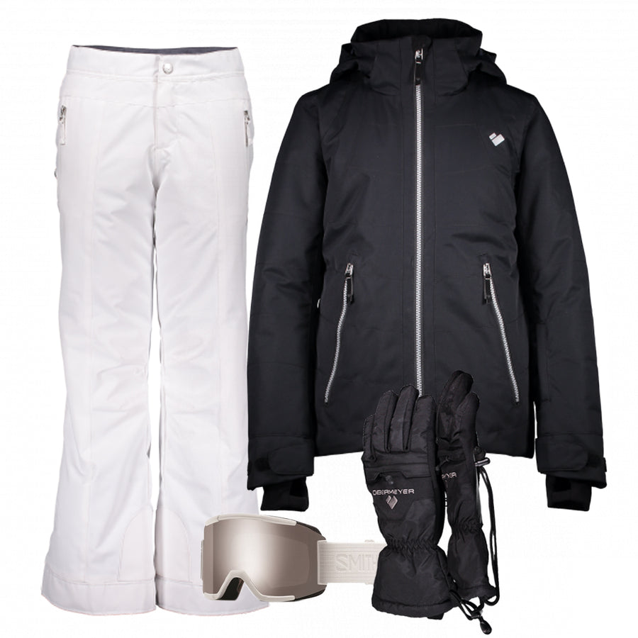 Junior Girl's Ski Gear Outfit (Black/White- Premium)