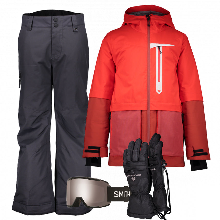 Junior Boy's Ski Gear Outfit (Red/Ebony)