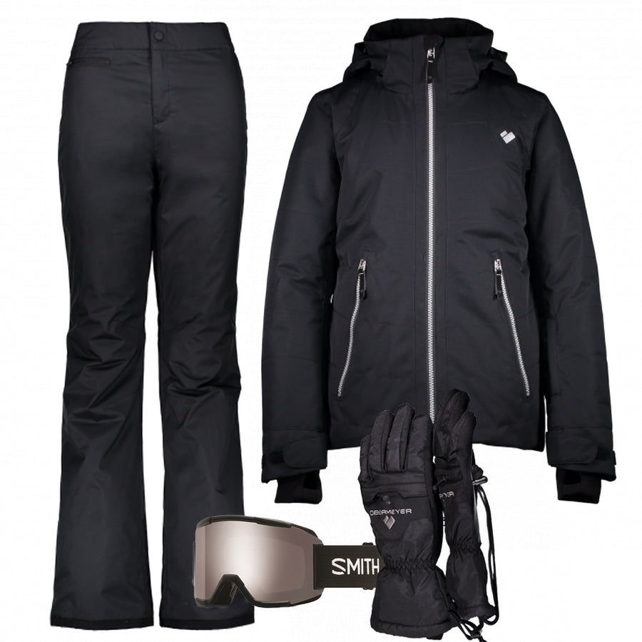 Junior Girl's Ski Gear Outfit (Black/Black)