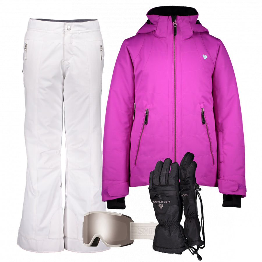 Junior Girl's Ski Gear Outfit (Purple/White- Premium)