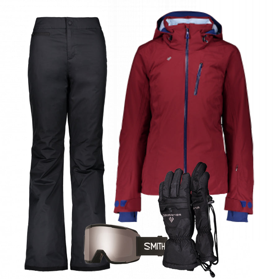 Women's Ski Gear Outfit (Maroon/Black)