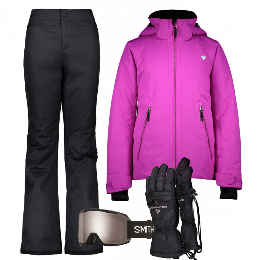 Junior Girl's Ski Gear Outfit (Purple/Black)