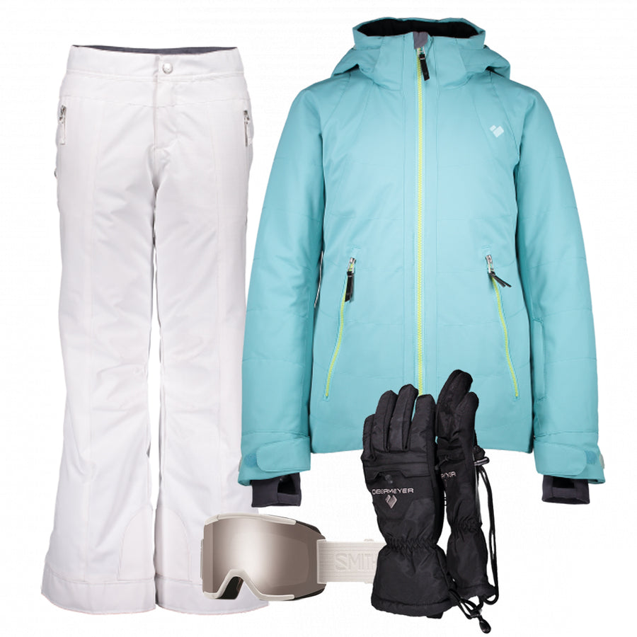 Junior Girl's Ski Gear Outfit (Seaglass/White -Premium)
