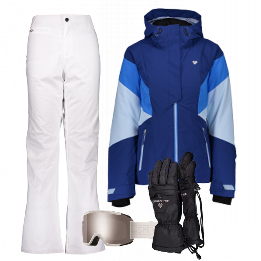 Women's Ski Gear Outfit (Blue/White - Premium)