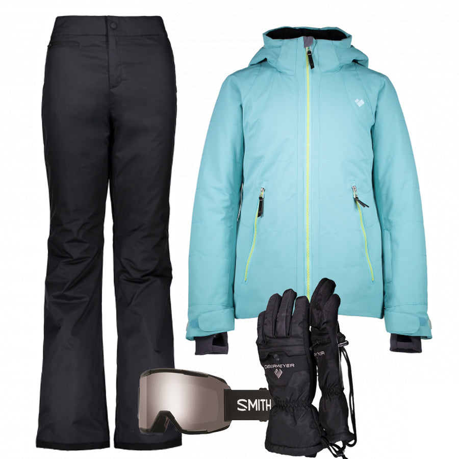 Junior Girl's Ski Gear Outfit (Seaglass/Black)