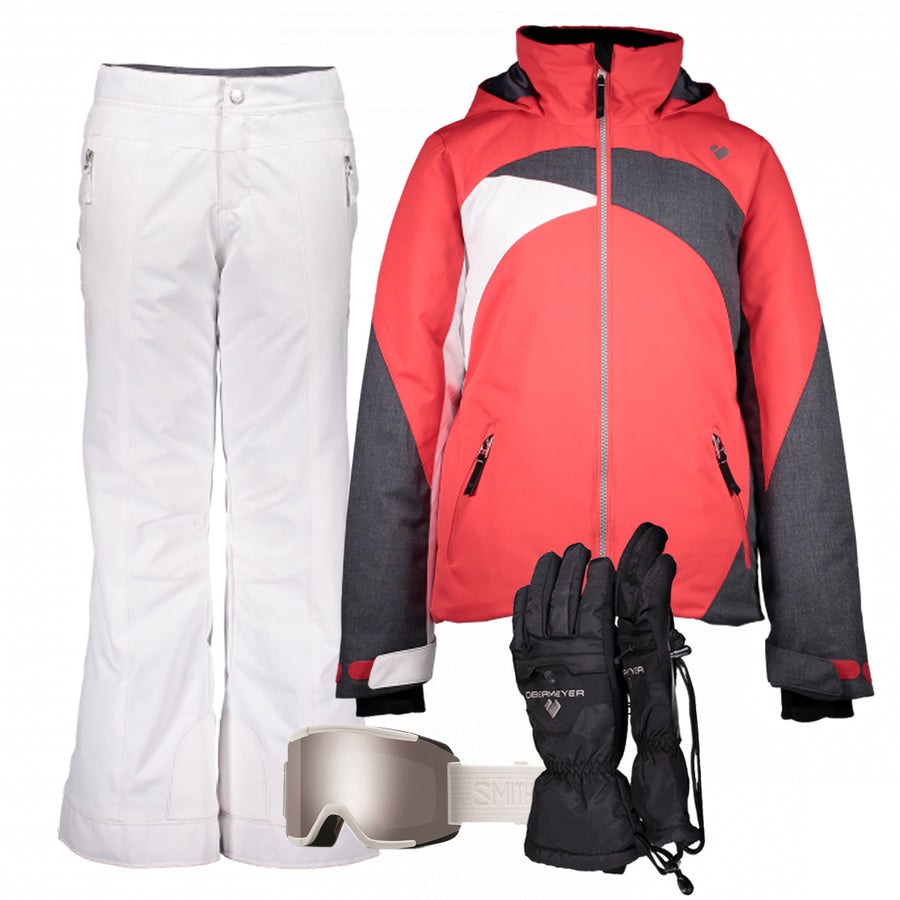 Junior Girl's Ski Gear Outfit (Multi/White - Premium)