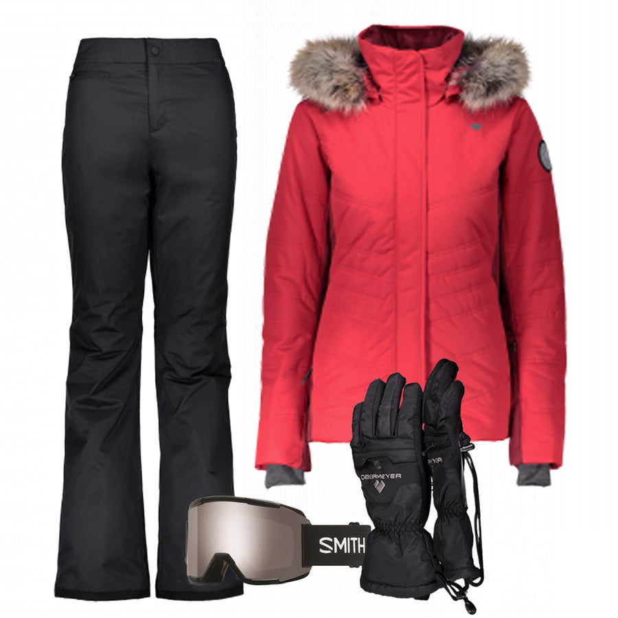 Women's Ski Gear Outfit (Red/Black- Premium)
