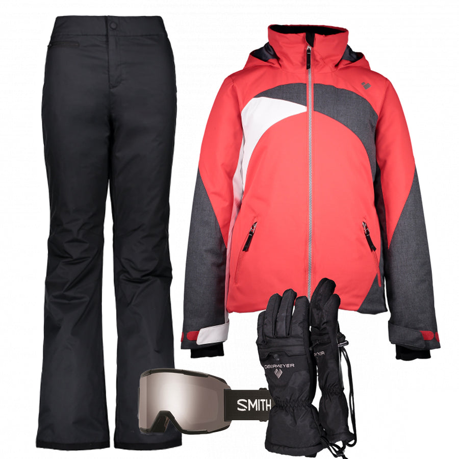 Junior Girl's Ski Gear Outfit (Multi/Black)