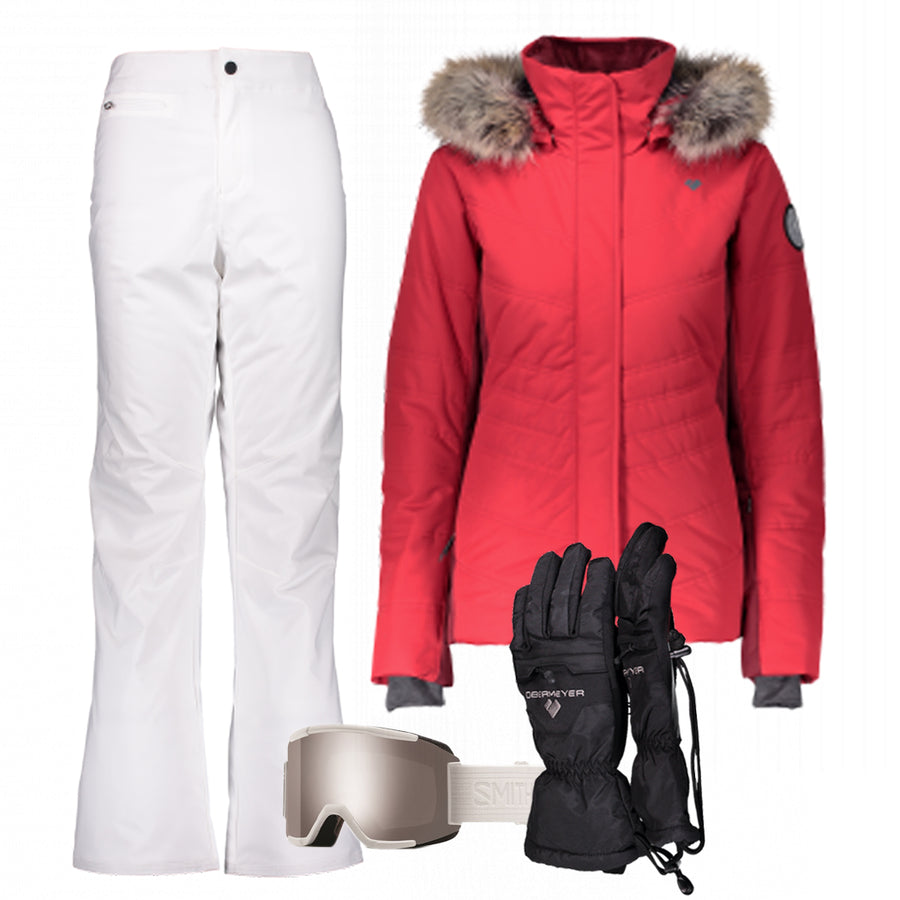 Women's Ski Gear Outfit (Red/White - Premium)