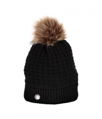 Women's Pom-Pom Knit Hat (Black)