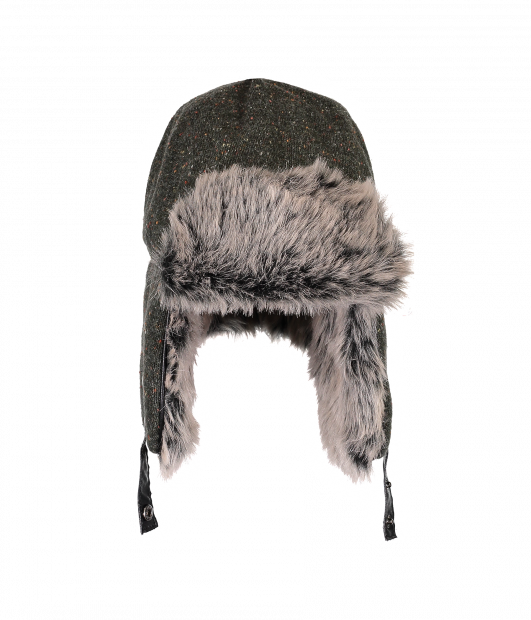 Trapper Knit Hat with Faux Fur (Grey Matter)