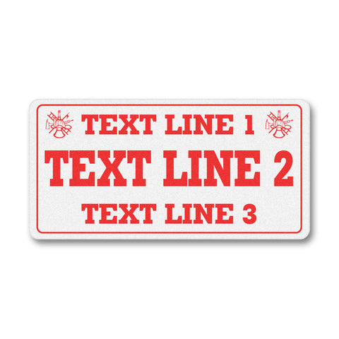 Custom Reflective Fire & EMS License Plate Topper - Two Lines Bridged