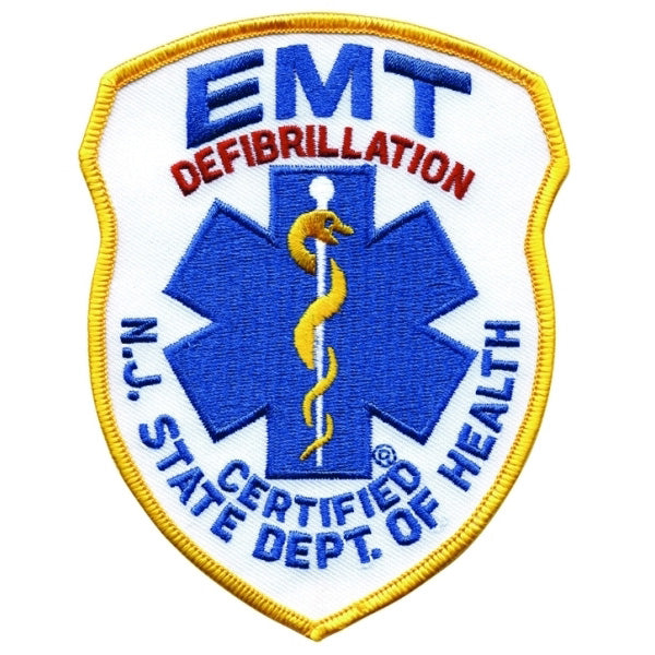 NJ EMT Defibrillation Embroidered Uniform Patch