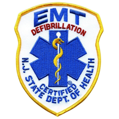 EMERGENCY MEDICAL SERVICES - Reflective Silver Embroidered Uniform Badge Patch