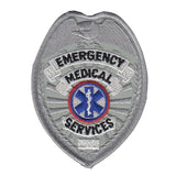 EMERGENCY MEDICAL SERVICES - Silver Embroidered Uniform Badge Patch