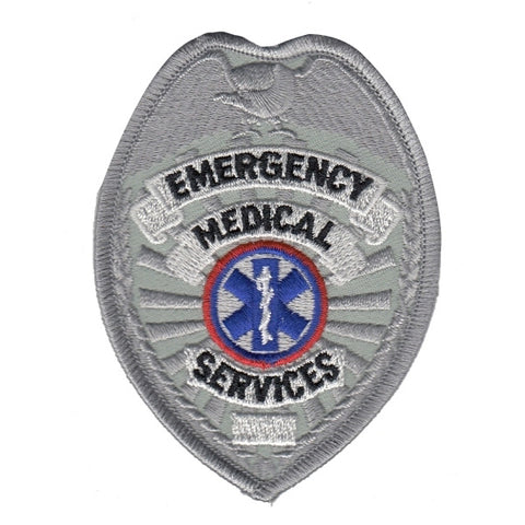 Generic Fire Department Silver Embroidered Uniform Badge Patch