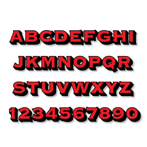 Reflective Letters & Numbers - 2 color 3D Copperplate Font