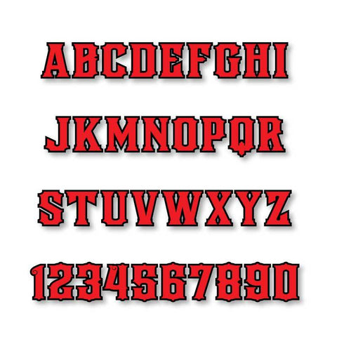 Reflective Letters & Numbers - Outlined Firehouse Font