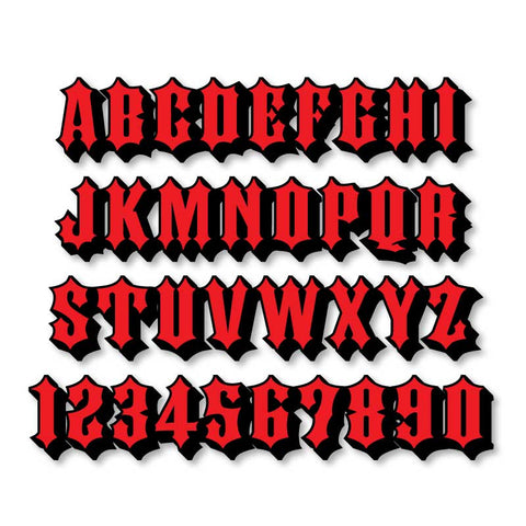Reflective Letters & Numbers - 2 color 3D Ironhorse Font