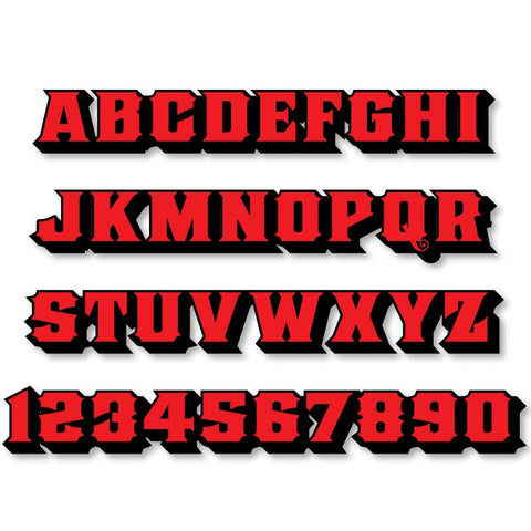 Reflective Letters & Numbers - 2 color 3D Old Stock Font