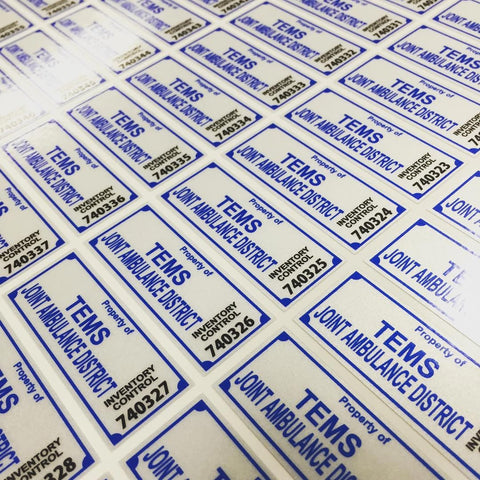 "Medium Serialized Equipment Labels - 1"" x 2.5"" pack of 100"