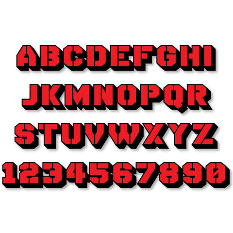 Reflective Letters & Numbers - 2 color 3D Stencil Font