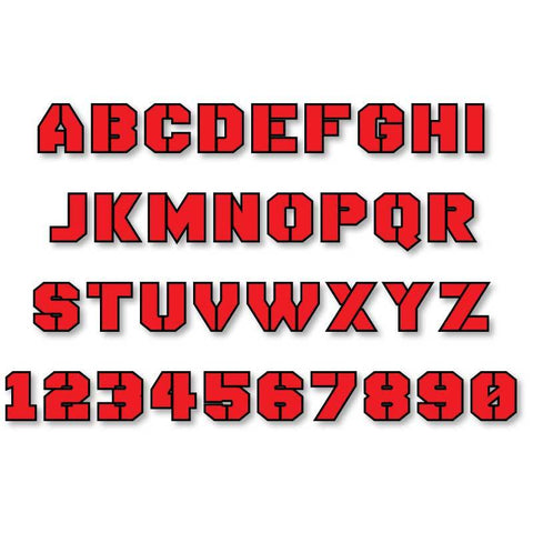 Reflective Letters & Numbers - Outlined Stencil Font
