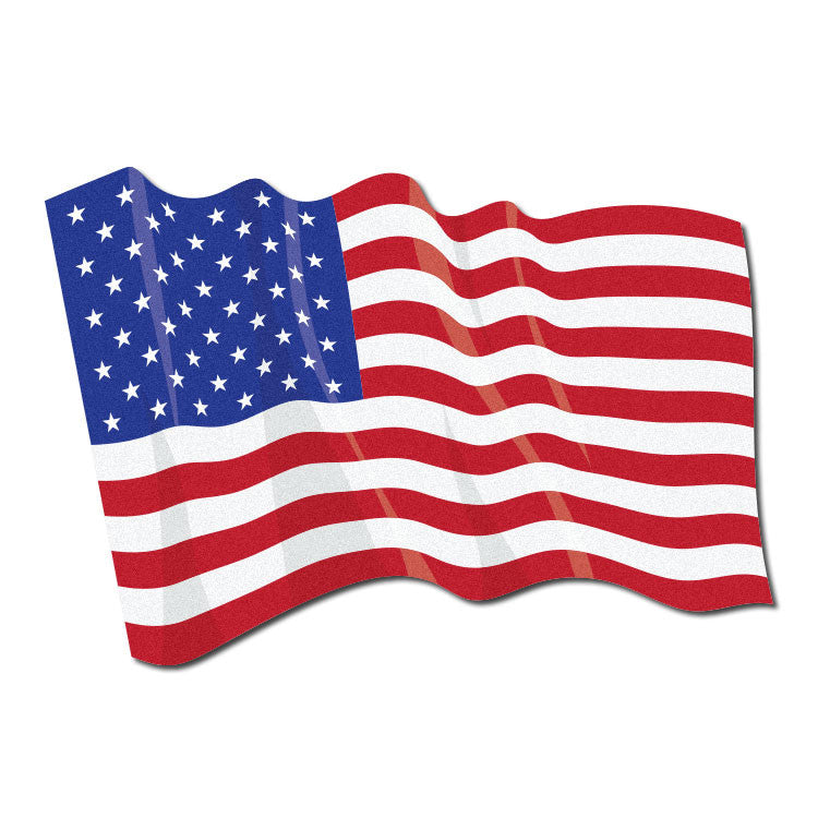 Reflective Waving American Flag Decal