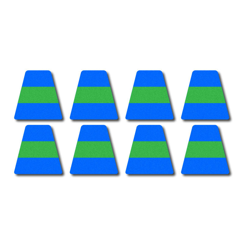 Tetrahedron Set - Blue w/ Green Stripe