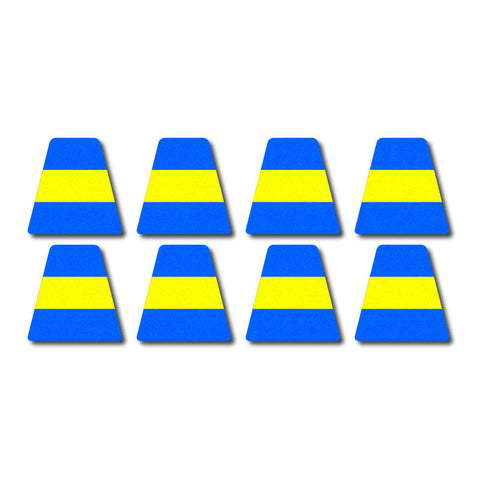 Tetrahedron Set - Blue w/ Yellow Stripe