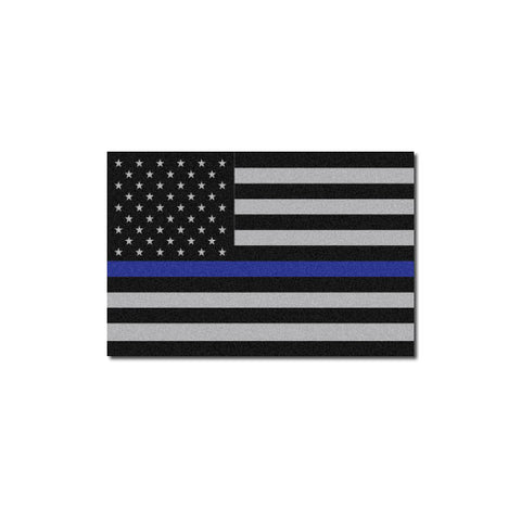 Reflective Subdued Thin Blue Line American Flag Decal