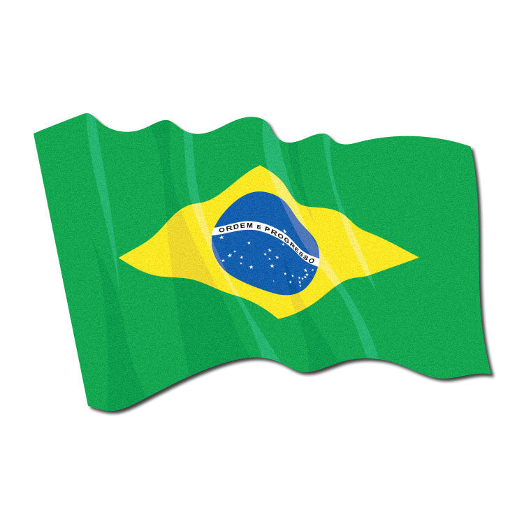 Reflective Waving Brazilian Flag Decal