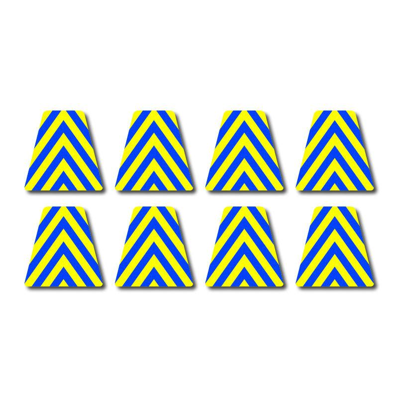 Tetrahedron Set - Blue/Yellow Chevrons