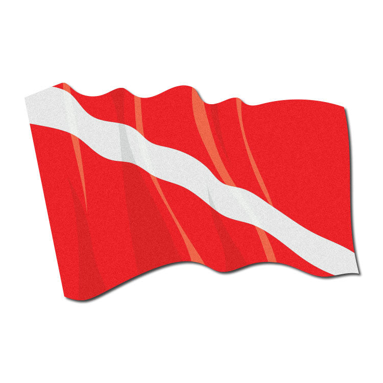 Reflective Waving SCUBA Dive Flag Decal